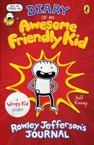 cover of Awesome Friendly Kid. A red cover with a yellow-bordered explosion cartoon border, in which stands a pencil-lined cartoon drawing of a boy with a wide open mouth and hands on his hips