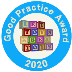 Toymark 2020. A blue circle with the words Good RPactice Award 2020 aroundt. Inside the circle is a picture of coloured wooden building blocks spelling out the words Let Toys Be Toys