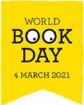 World Book Day logo - a bookmark with eyes in the letter Os